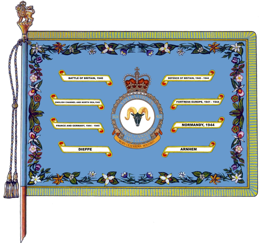 In 1941, No. 1 RCAF Squadron was renamed 401 Squadron. This illustration shows the Battle of Britain battle honour emblazoned on 401 Squadron's standard. IMAGE: DND