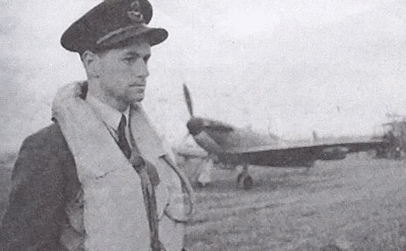 "Flight Lieutenant Forgrave Marshall ""Hiram"" Smith at an RAF Station in an undated photograph."