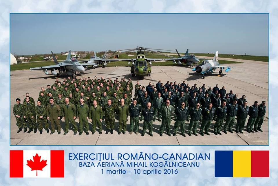About 100 Royal Canadian Air Force personnel, mainly from 3 Wing Bagotville, Quebec, with four CF-188 Hornet fighter aircraft conducted bilateral training with the Romanian Air Force in Constanta, Romania, from March to April 2016. PHOTO: CER SENIN- Revista Forţelor Aeriene (Romanian Air Force magazine) Facebook page