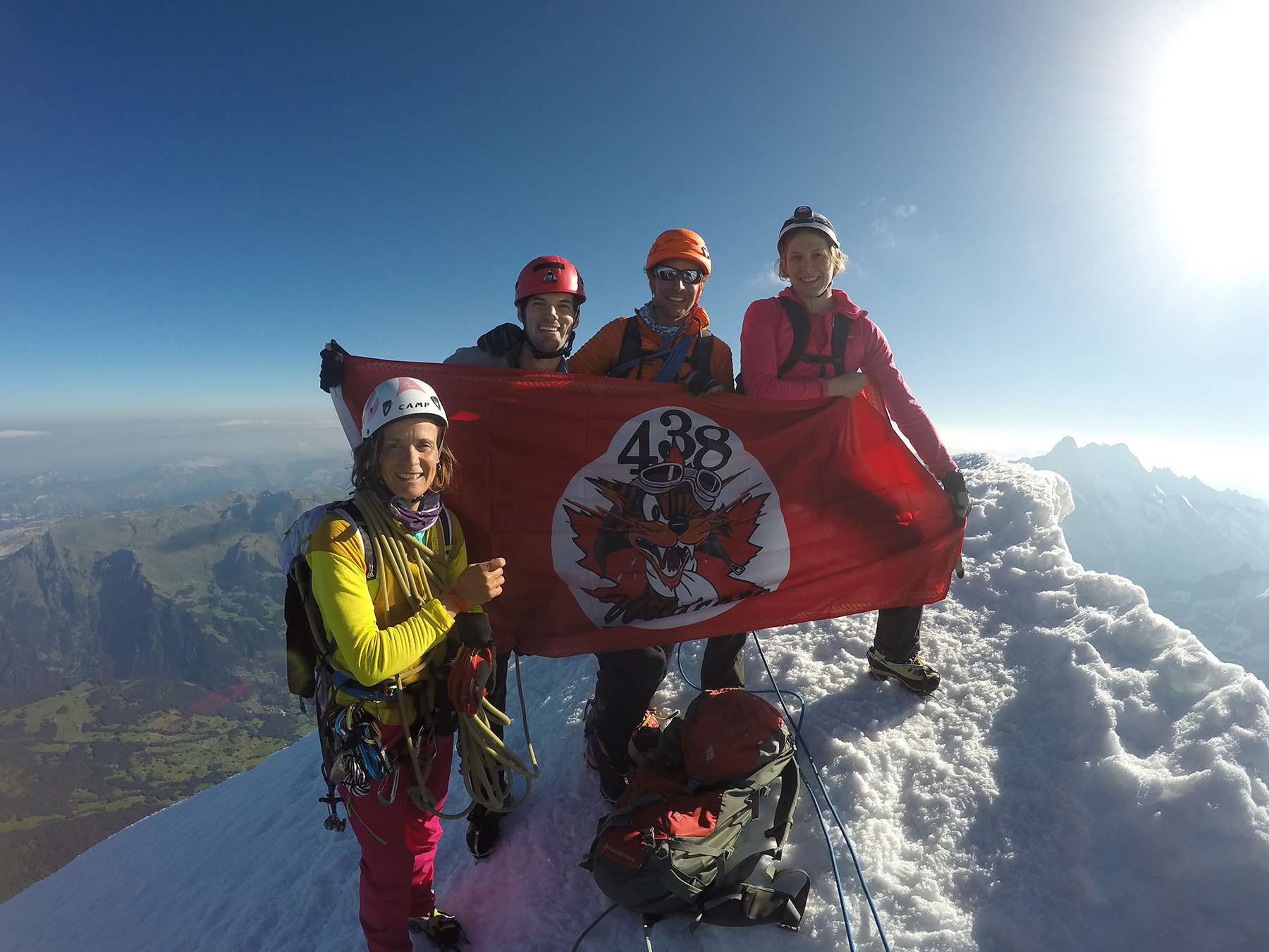 Four climbers display a flag on the summit of a mountain.
