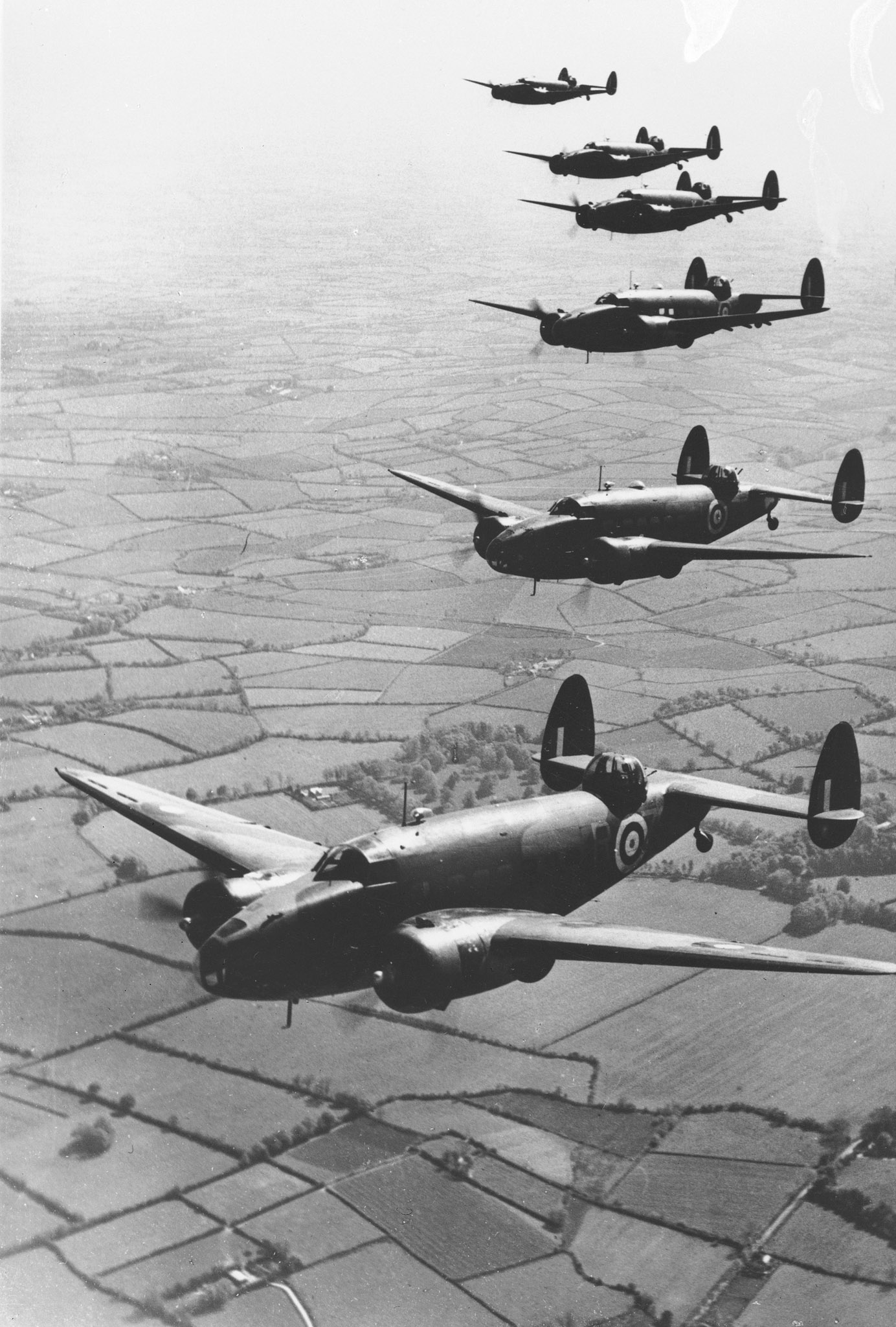 Hudson bombers fly over the English countryside on October 19, 1941. PHOTO: DND Archives PL-5385
