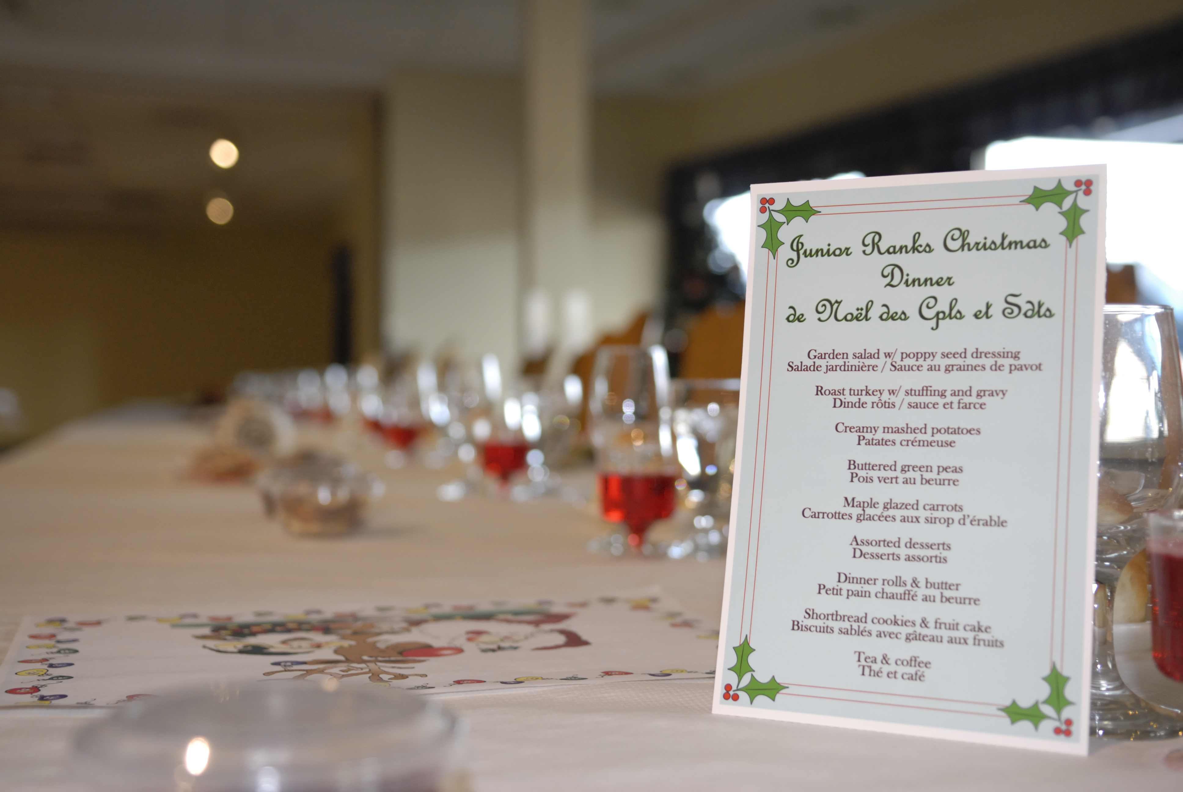 The menu for the Junior Ranks Christmas Dinner at 14 Wing Greenwood, Nova Scotia, held on December 5, 2014. The Junior Ranks Christmas Dinner is an annual event during which the officers and senior non-commissioned members serve a meal to the junior non-commissioned members as a way of thanking them for their hard work throughout the previous year. PHOTO: Sergeant Ken Fenner, GD2014-0773