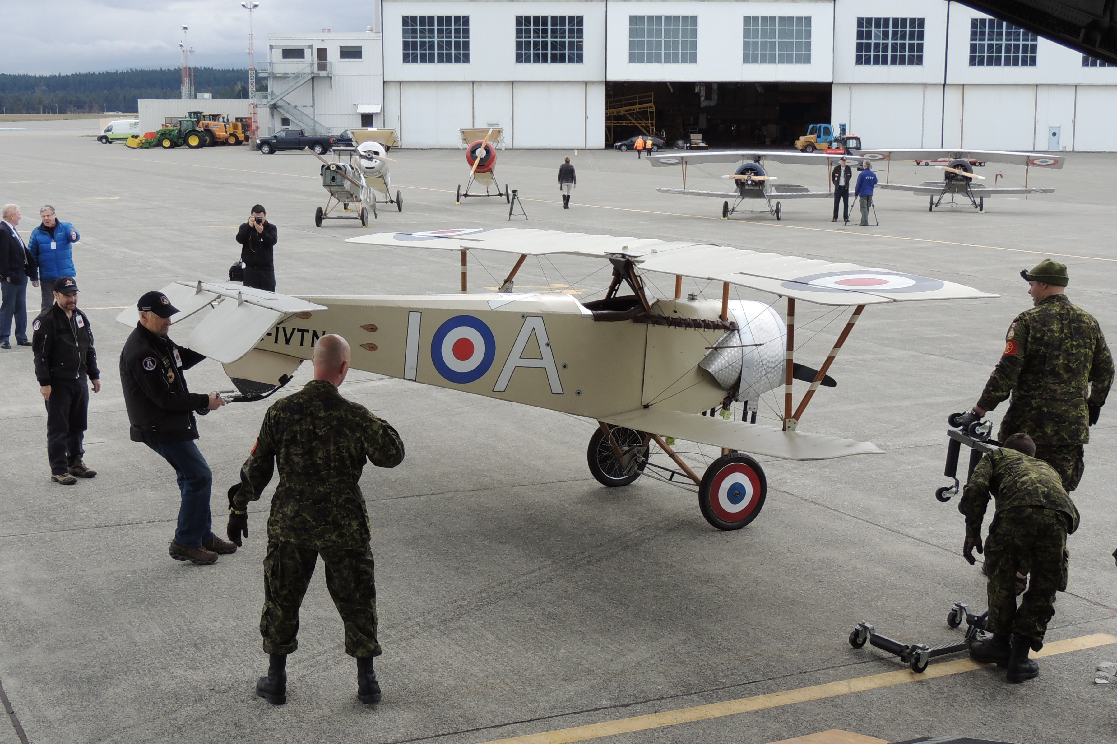A Nieuport XI is readied for loading onto the CC-177 Globemaster III. PHOTO: Major Holly-Anne Brown