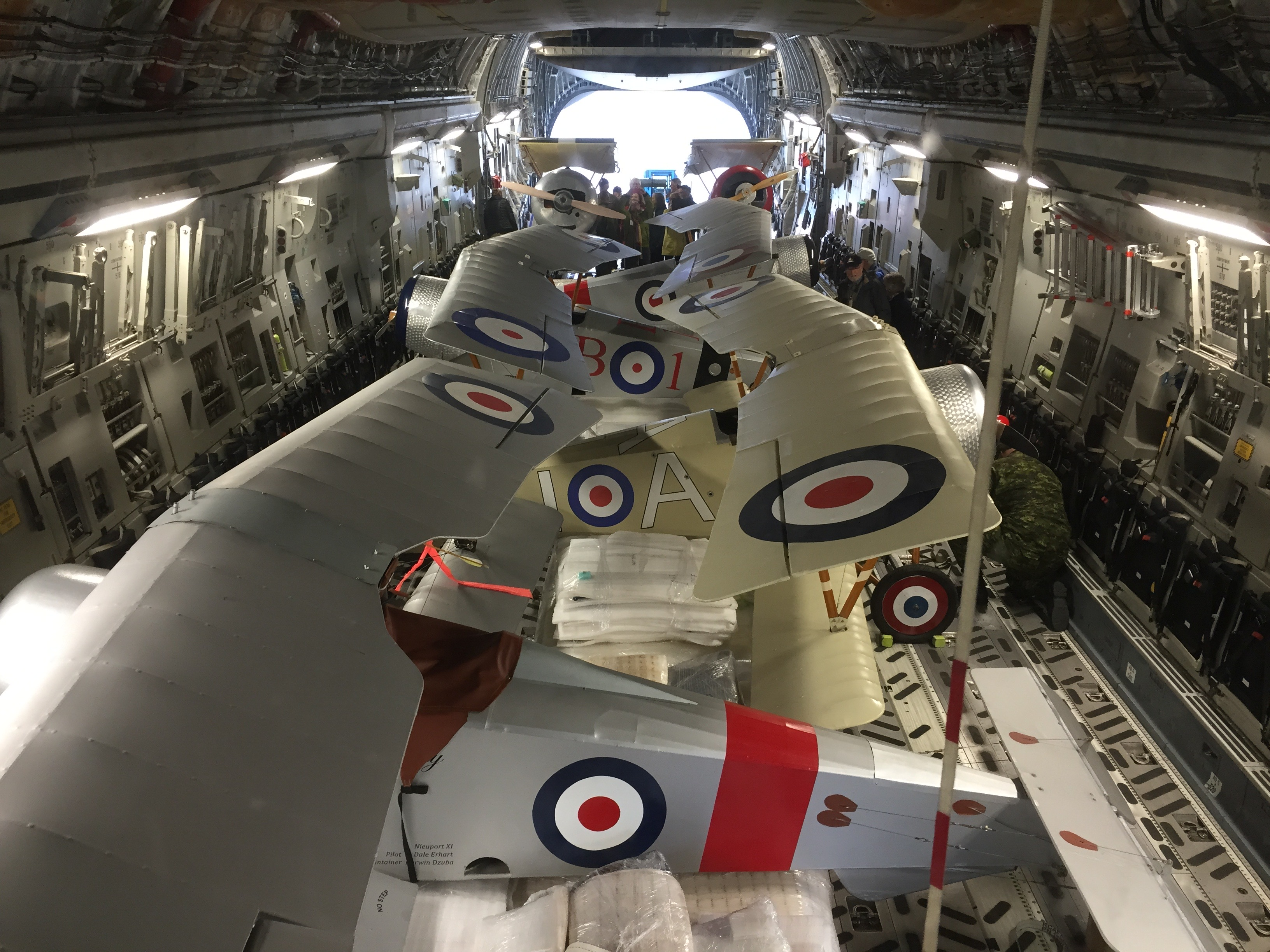 It's like a jigsaw puzzle! The Vimy Flight Association's aircraft are safely stowed in the CC-177 Globemaster III. PHOTO: Major Holly-Anne Brown