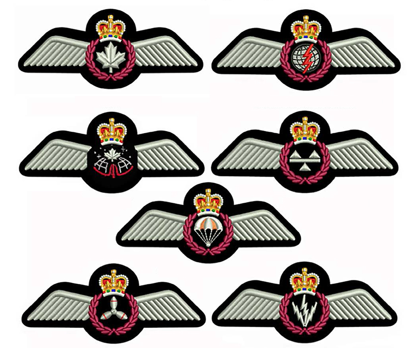 "The new silver aircrew flying badges (""full wings"") for the RCAF, shown in the design for the embroidered fabric versions. From left to right and top to bottom, they are: pilot, air combat systems officer (formerly navigator), astronaut, loadmaster, search and rescue technician, flight engineer and airborne electronic sensor operator. IMAGE: DND"