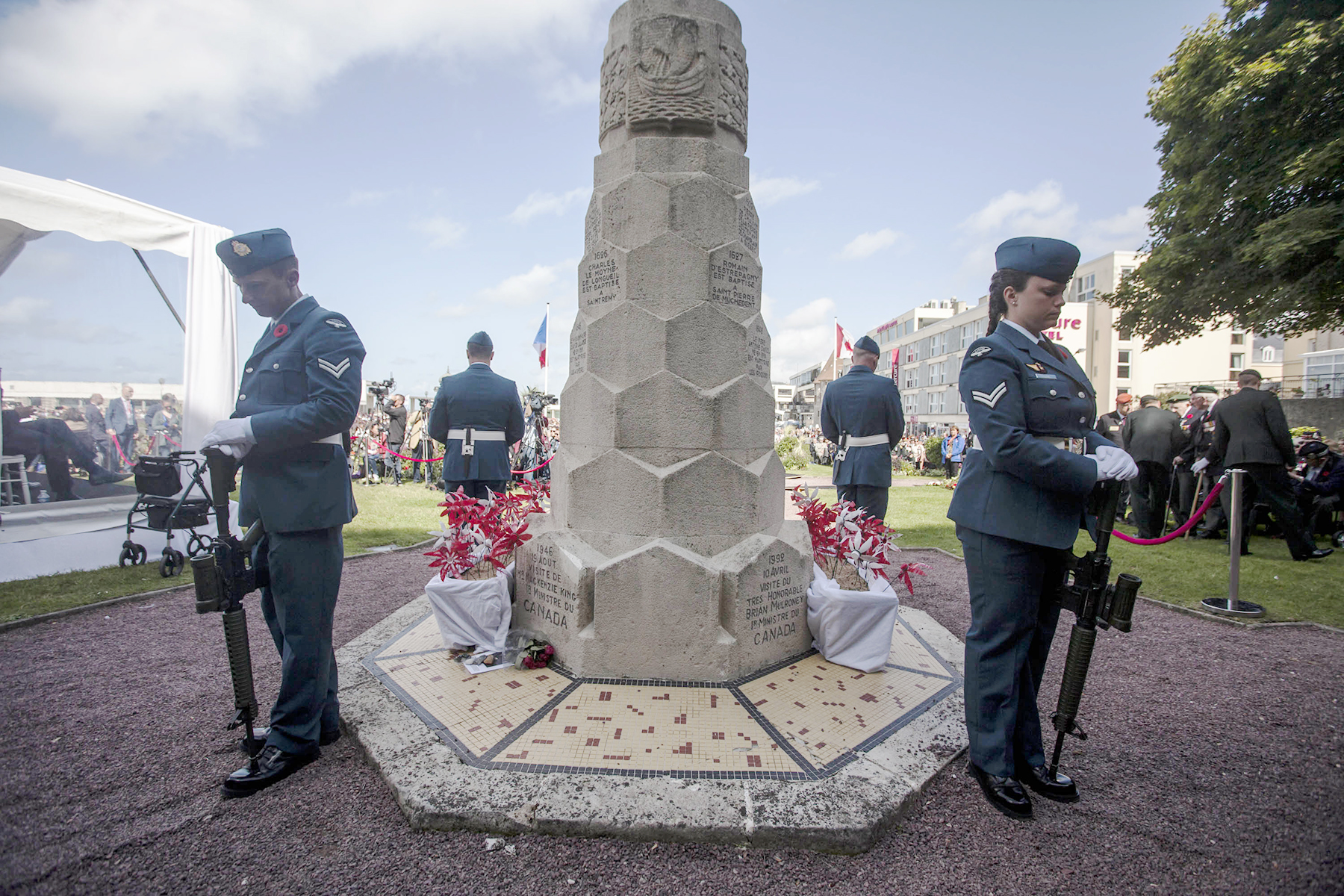 Corporal Alexandre Dingman (front left), Corporal Crystal Roche (front right), Corporal Maxime Caron (back left), and Master Corporal Hugo Belisles (back right), stand vigil at the Dieppe-Canada monument at Square du Canada in Dieppe, France, on August 19, 2017, during a ceremony of remembrance marking the 75th anniversary of the 1942 Dieppe Raid. PHOTO: Submitted