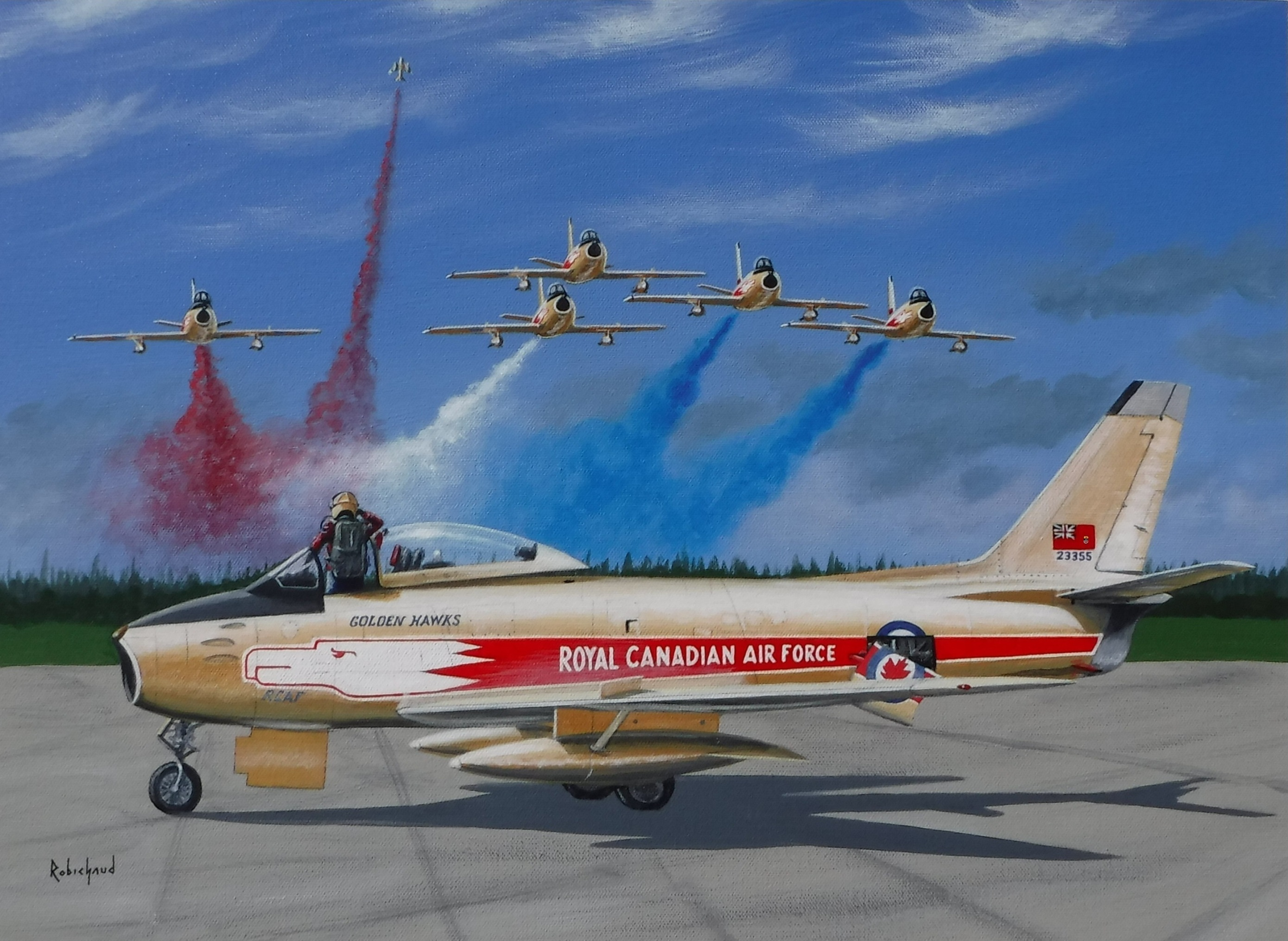 "A new painting by Peter Robichaud, called ""Salute to a Golden Age"", depicts a pilot in a Golden Hawks Canadair Sabre saluting an approaching flight of the team as one aircraft breaks off to leave the group as a ""missing man"" formation. PHOTO: Courtesy of Peter Robichaud, © www.studiorobichaud.ca"