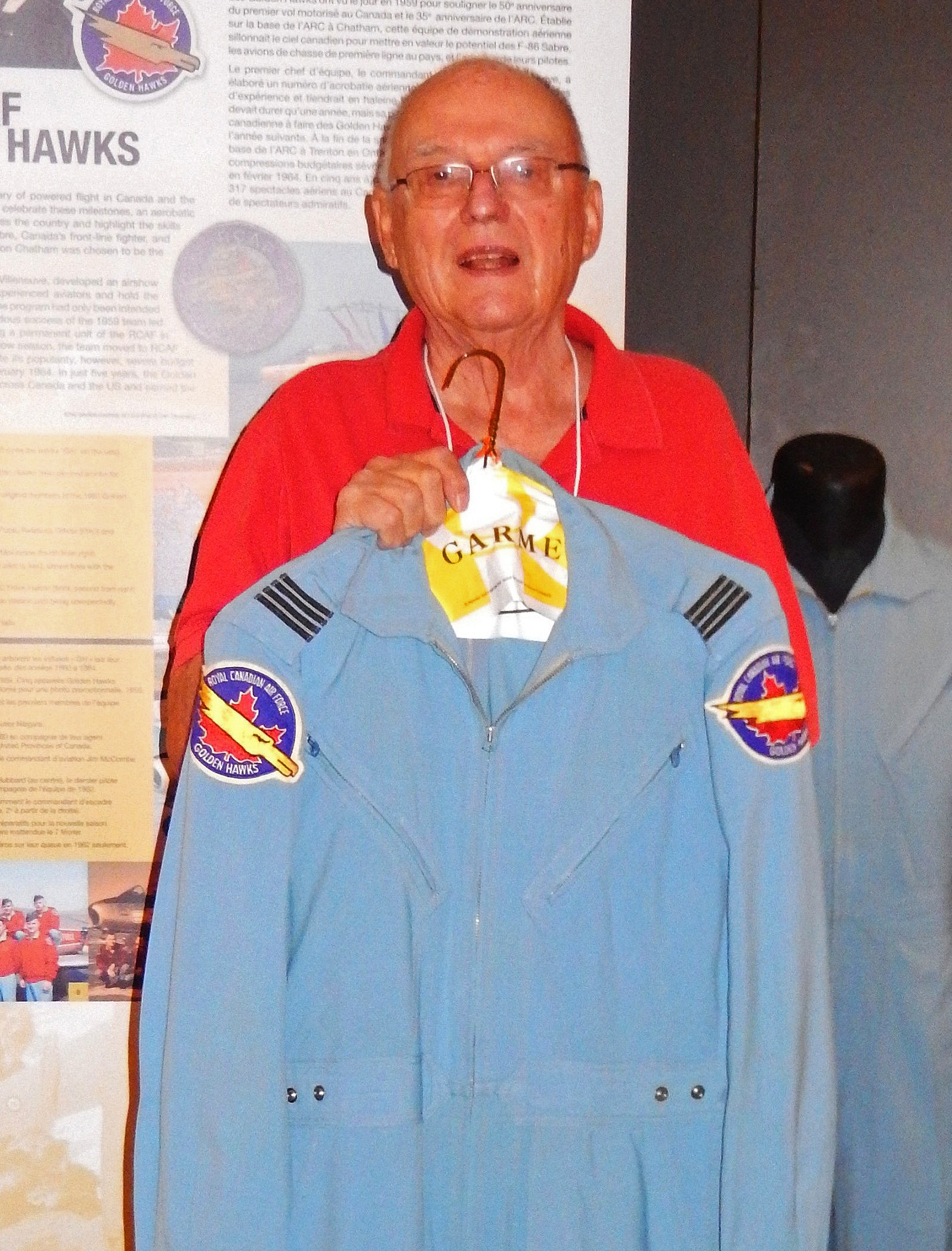 "Fifty-four years after he flew as a Golden Hawks pilot, former Flight Lieutenant Ed McKeogh donated his flying suit to the New Brunswick Aviation Museum at the ""Celebration of Excellence"" event honouring the Golden Hawks. PHOTO: John Chalmers"