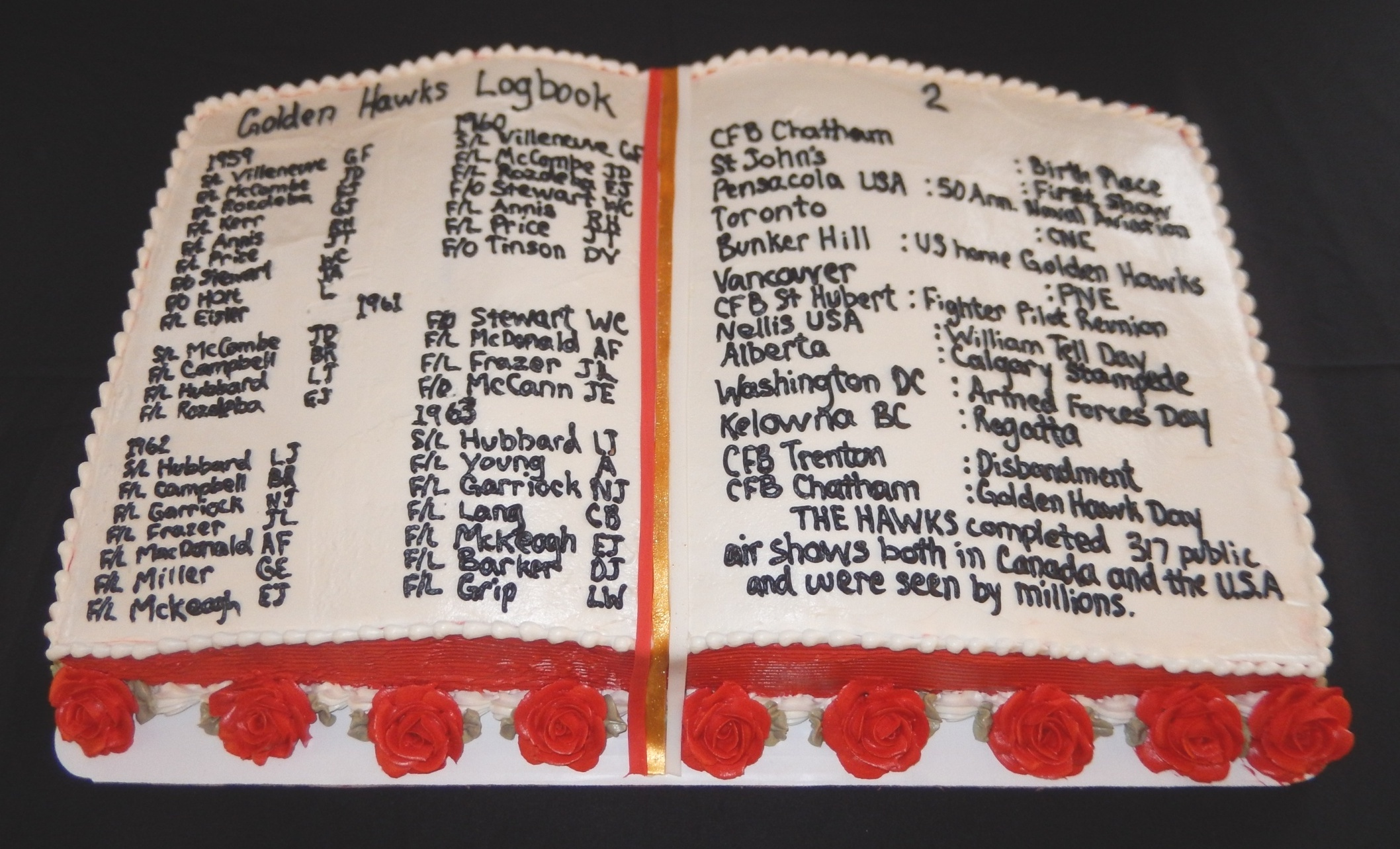 "A ""logbook cake"", replicating one made for the 1967 Appreciation Day for the Golden Hawk at RCAF Station Chatham, names all pilots of the 1959-1963 teams and many of the places where they flew at air shows. PHOTO: John Chalmers"