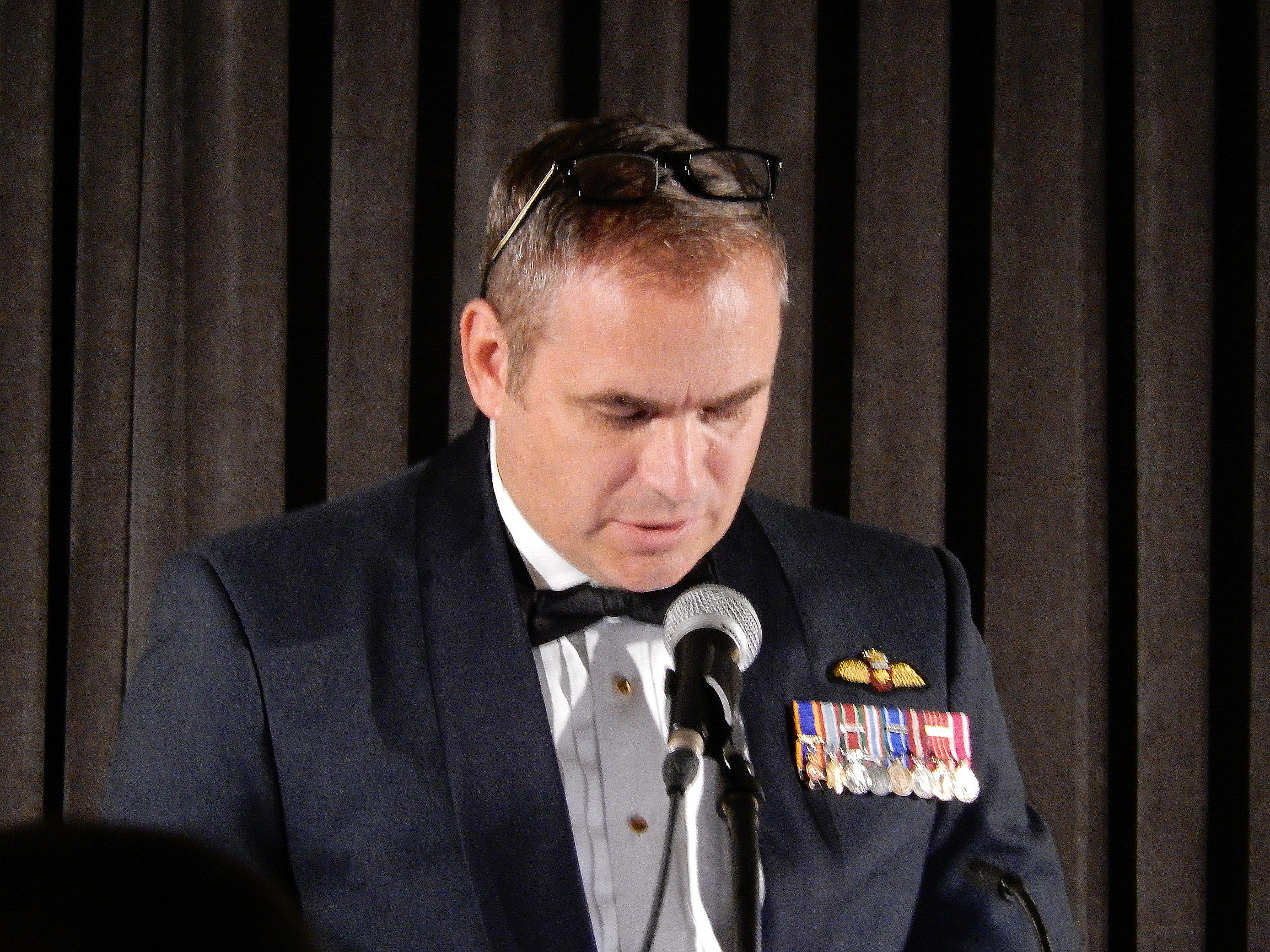 Major-General Blaise Frawley, deputy commander of the RCAF, paid tribute to the Golden Hawks, speaking of their place in Canadian air force history. PHOTO: John Chalmers