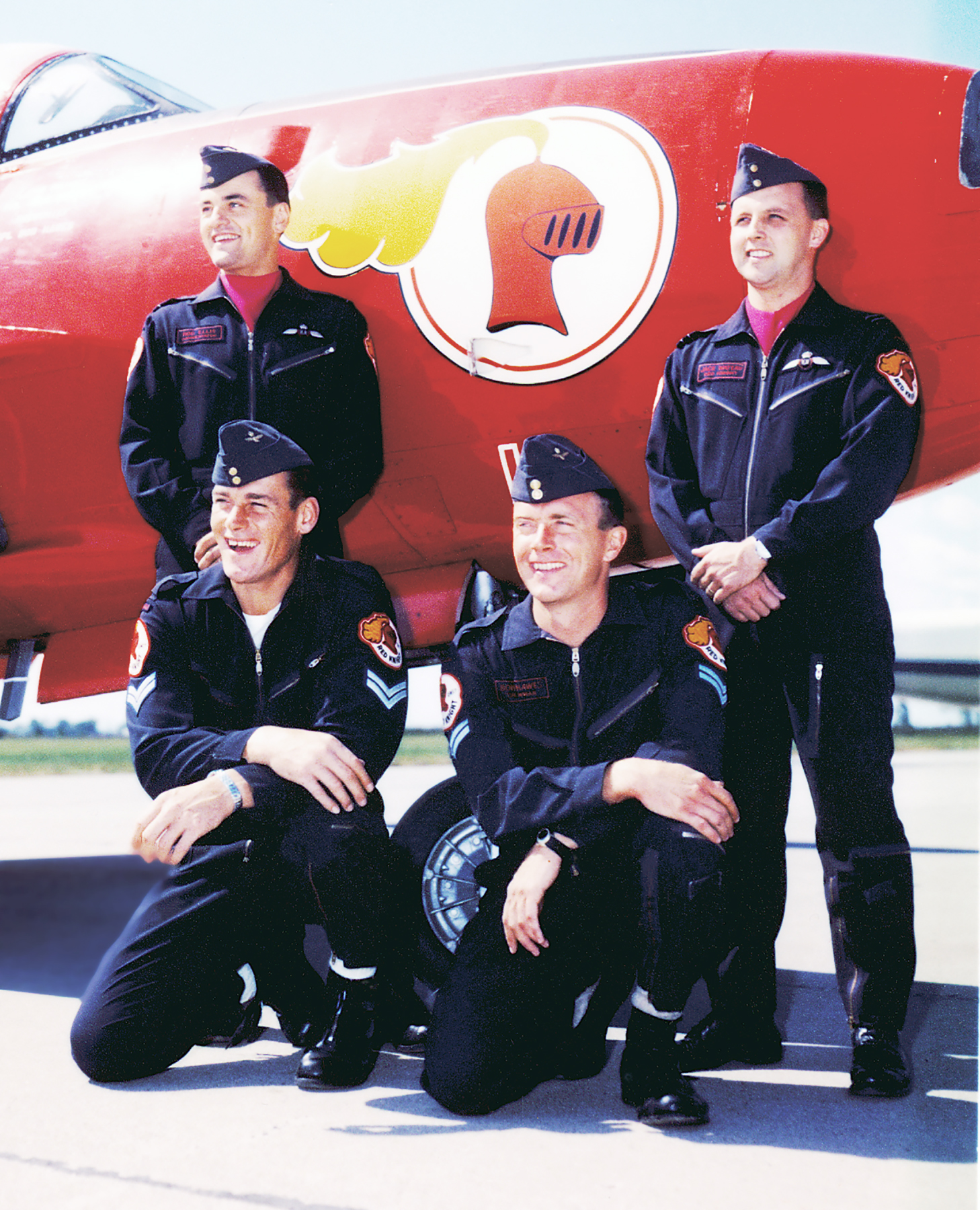 The Centennial version of the Red Knight team. Front row: Corporal Vince Kavic and Corporal Bob Hawes; back row: Flying Officer Rod Ellis and Flight Lieutenant Jack Waters. PHOTO: Courtesy of Lieutenant-Colonel (retired) Dan Dempsey