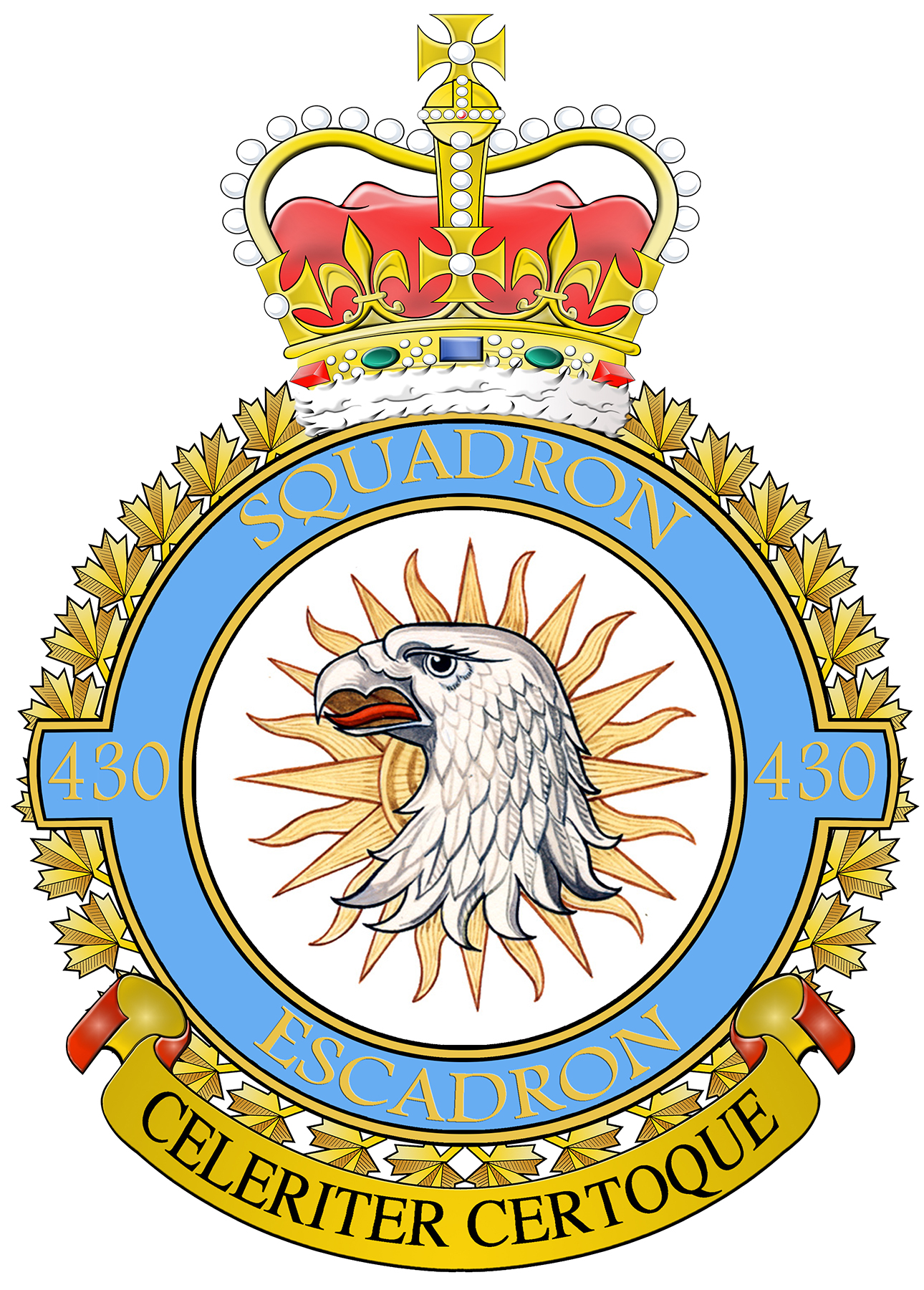 "430 Squadron's badge displays the gyrfalcon, and the badge's official description reads: ""The gyrfalcon, found in northern Canada, is noted for its exceptional and alert fighting ability. The sun in splendour is used to depict the squadron's original role of fighter reconnaissance, the bringing of light or information to the troops."" The squadron motto is ""Celeriter Certoque"" (Swiftly and Surely). IMAGE: DND"
