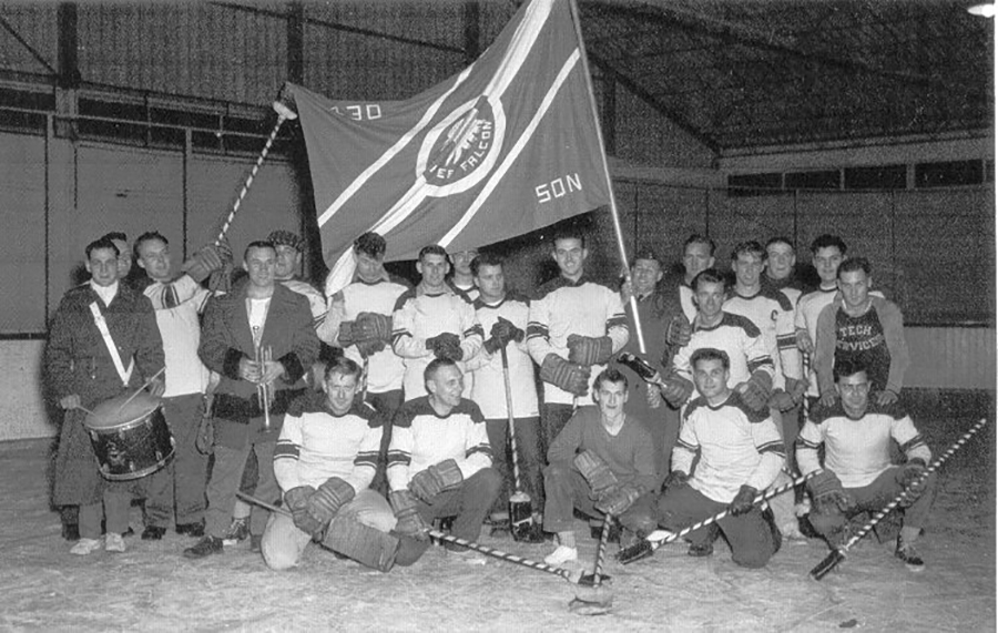 The 430 Fighter Squadron's 1958-1959 broomball team in the arena at Grostenquin, France, in March 1959. PHOTO: www.c-and-e-museum.org