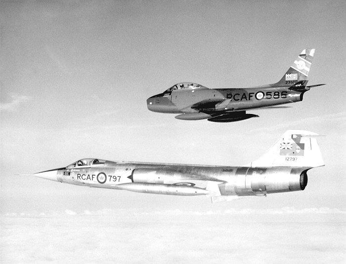 In August 1963, a 430 Squadron F-86 Sabre (top) and CF-104 Starfighter check each other out in flight. PHOTO: DND