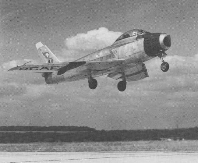 A 430 Squadron F-86 Sabre takes off during Exercise Coronet on July 25, 1953. PHOTO: DND