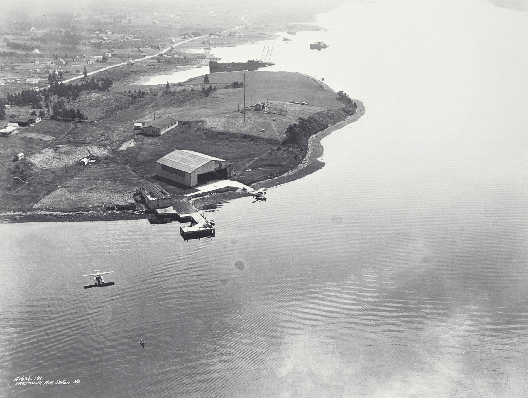 An aerial view of the shoreline of Baker Point/U.S. Naval Air Station Halifax, Nova Scotia. PHOTO: DND Archives, CN-3962