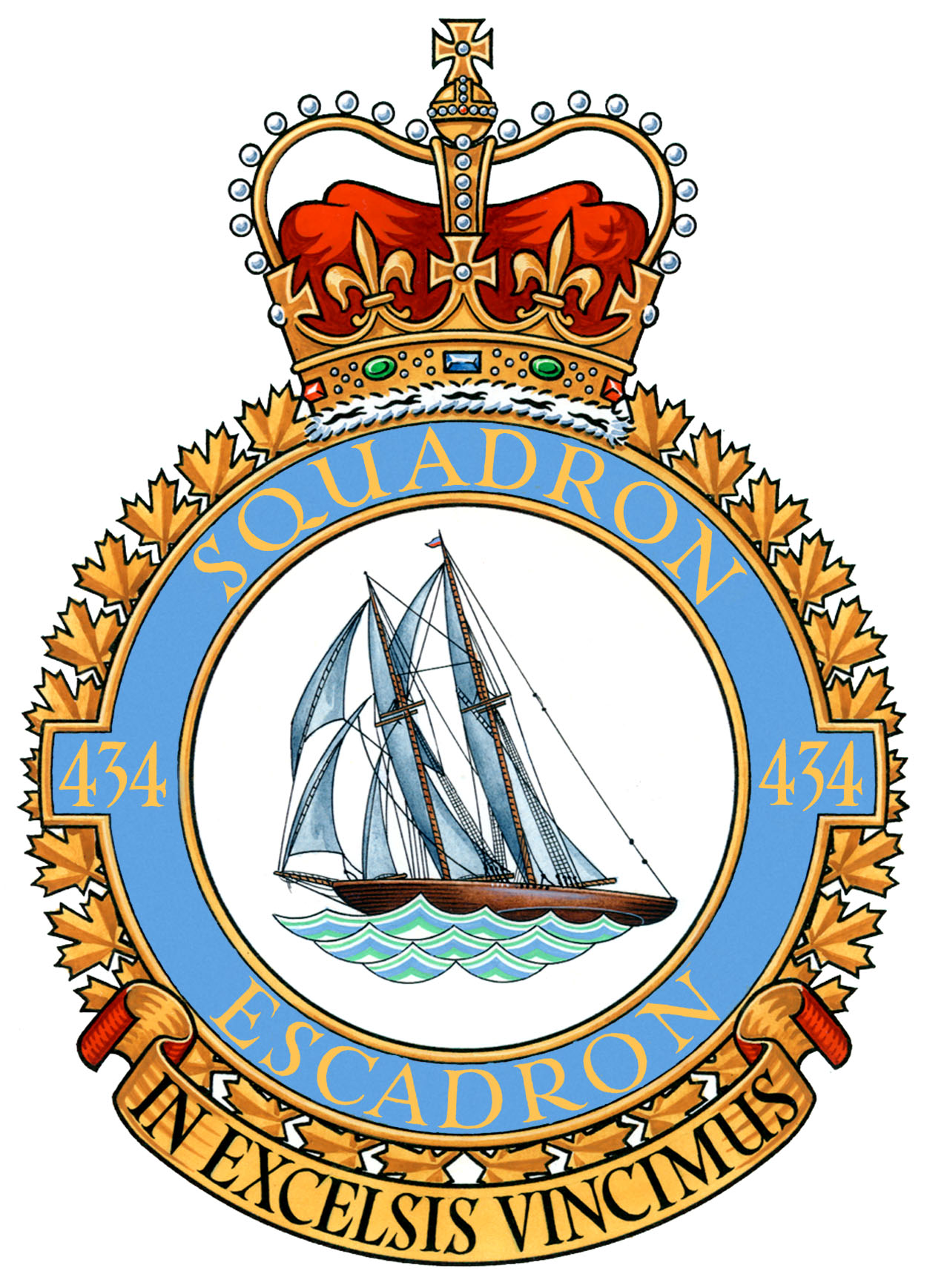 "434 Squadron's badge shows the famed schooner Bluenose. According to the unit's official lineage ""the squadron was adopted by the Rotary Club of Halifax, Nova Scotia, and took the nickname 'Bluenose' in reference to the common nickname for Nova Scotians. The schooner Bluenose is well known for its fine record"". The squadron's motto is In Excelsis Vincimus (We conquer in the heights). IMAGE: DND"
