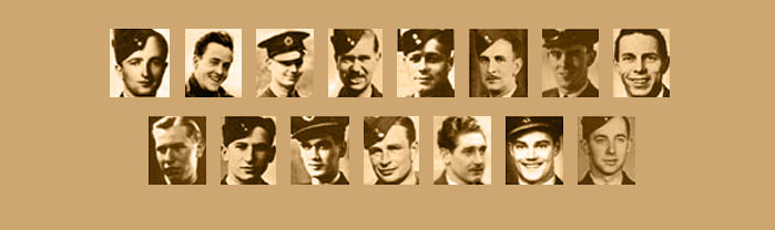 A composite image of the 14 Canadians killed (and one taken prisoner) during the raid/ Left to right, top row: Warrant Officer Class 2 James L. Arthur; Warrant Officer Class 2 Joseph G. Brady; Sergeant Charles Brennan; Pilot Officer Lewis J. Burpee; Sergeant Vernon W. Byers; Sergeant Alden Preston Cottam; Flying Officer Kenneth Earnshaw; Pilot Officer John W. Fraser (survived and taken prisoner of war). Bottom row: Sergeant Francis A. Garbas; Sergeant Abram Garshowitz; Flying Officer Harvey S. Glinz; Flying Officer Vincent S. MacCausland; Sergeant James McDowell; Flying Officer Robert A. Urquhart; and Pilot Officer Floyd A. Wile. IMAGE: Bomber Command Museum of Canada