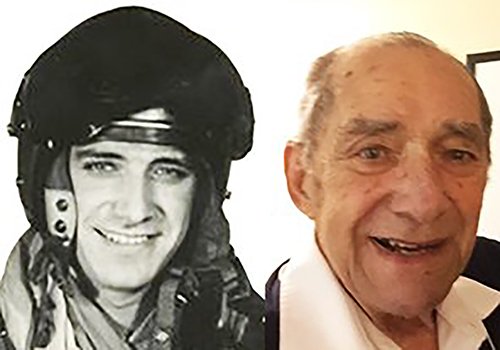 Side-by-side photos of a man. On the left, in black and white, he is young, wearing a flight suit and helmet; on the right, in colour, he is older, wearing an open-necked civilian shirt.
