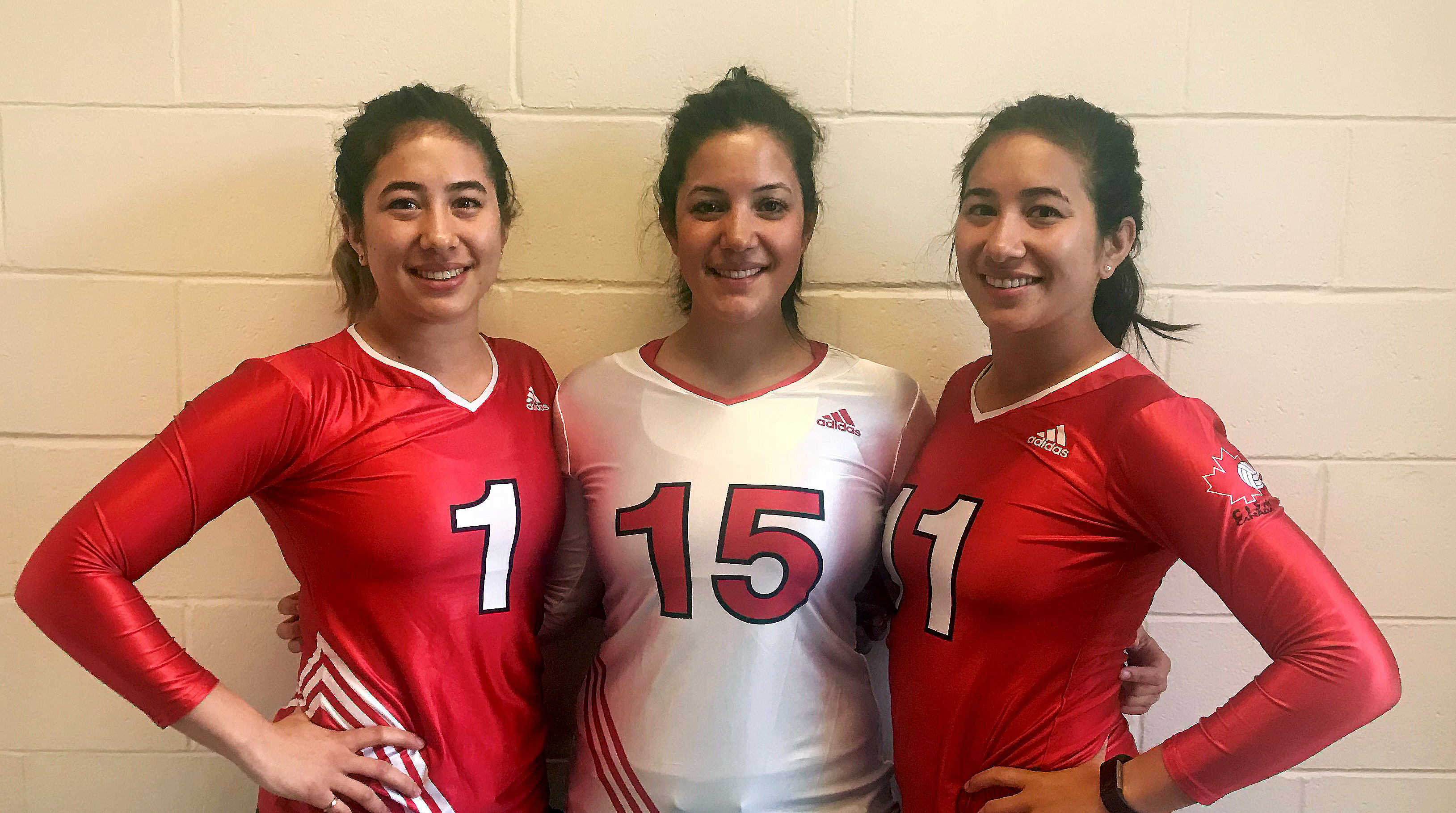 Lieutenant Cassidy Chang (left), Lieutenant (Navy) Kelsey Chang and Lieutenant Delanie Chang (right) are representing Canada at the Conseil international du sport militaire (CISM) 19th World Military Volleyball Championships from May 28 to June 3, 2018, in Edmonton, Alberta. PHOTO: Submitted