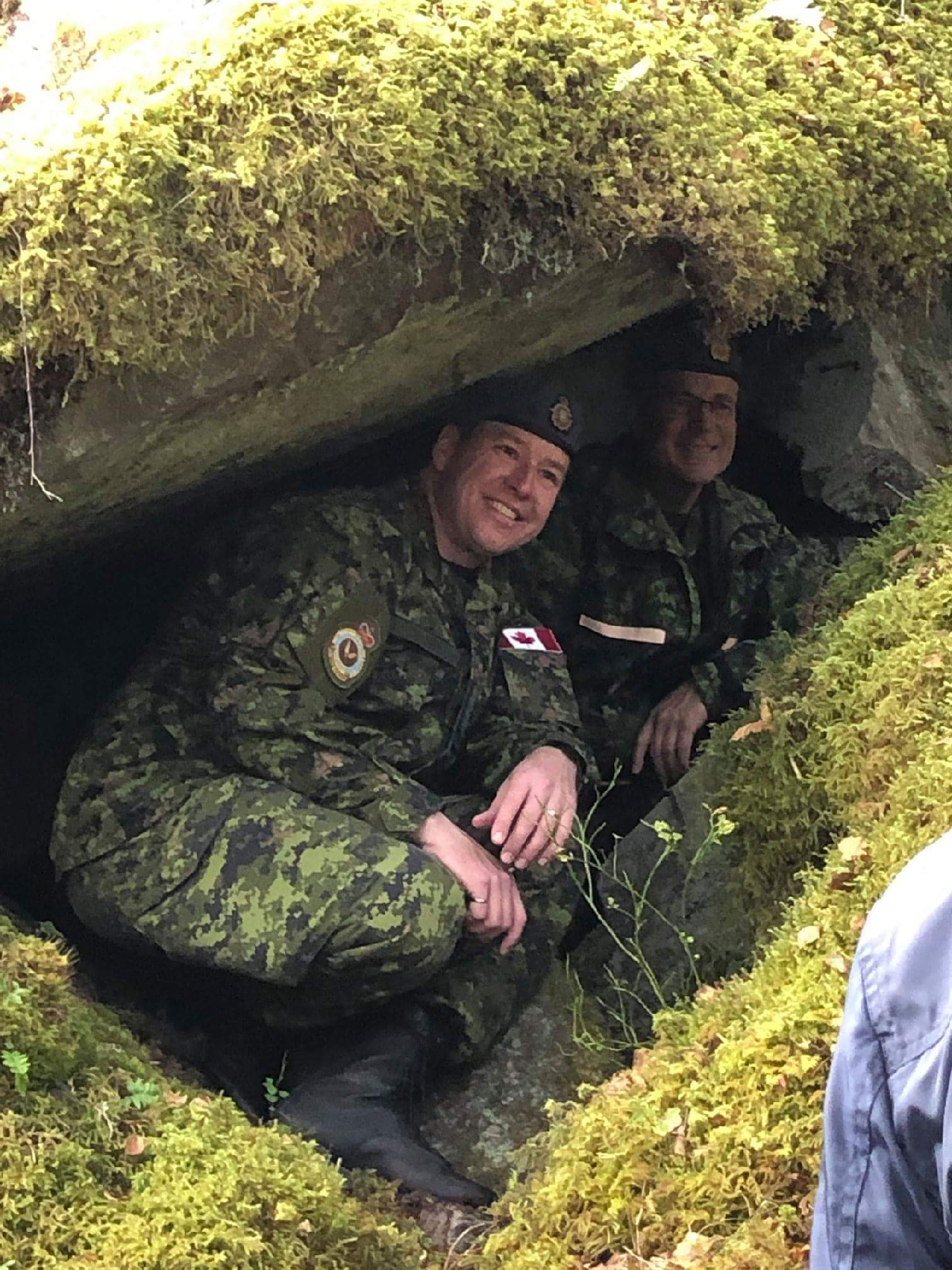 Lieutenant-Colonel Patrick Castonguay and Chief Warrant Officer Serge Harvey visit the small cave in which the aircrew took refuge after the forced landing. PHOTO: Submitted