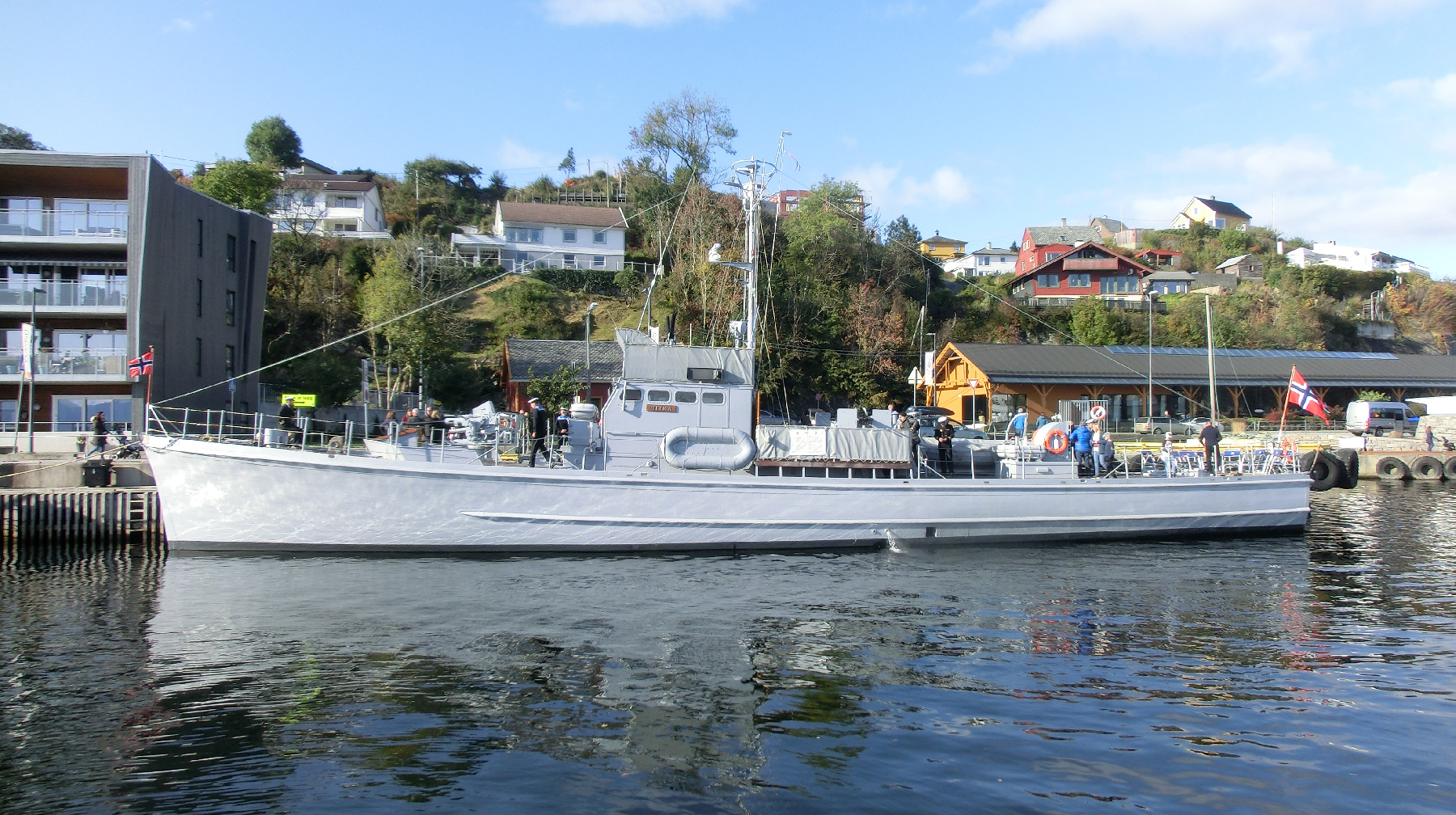 "His Norwegian Majesty's Ship Hitra, shown here, is the sole surviving sister ship of HNoMS Vigra. The Royal Norwegian Navy submarine chaser HNoMS Vigra, nicknamed the ""Shetland Bus"", carried the Canadians into Allied waters. PHOTO: Submitted"