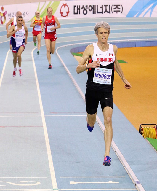 "President of Athletics Ontario and former Olympian Paul Osland demolishes the field to win the M50 800m Semi-Finals at the World Masters Athletics Championships Indoors in Daegu, South Korea, in 2017. PHOTO: Doug ""Shaggy"" Smith"