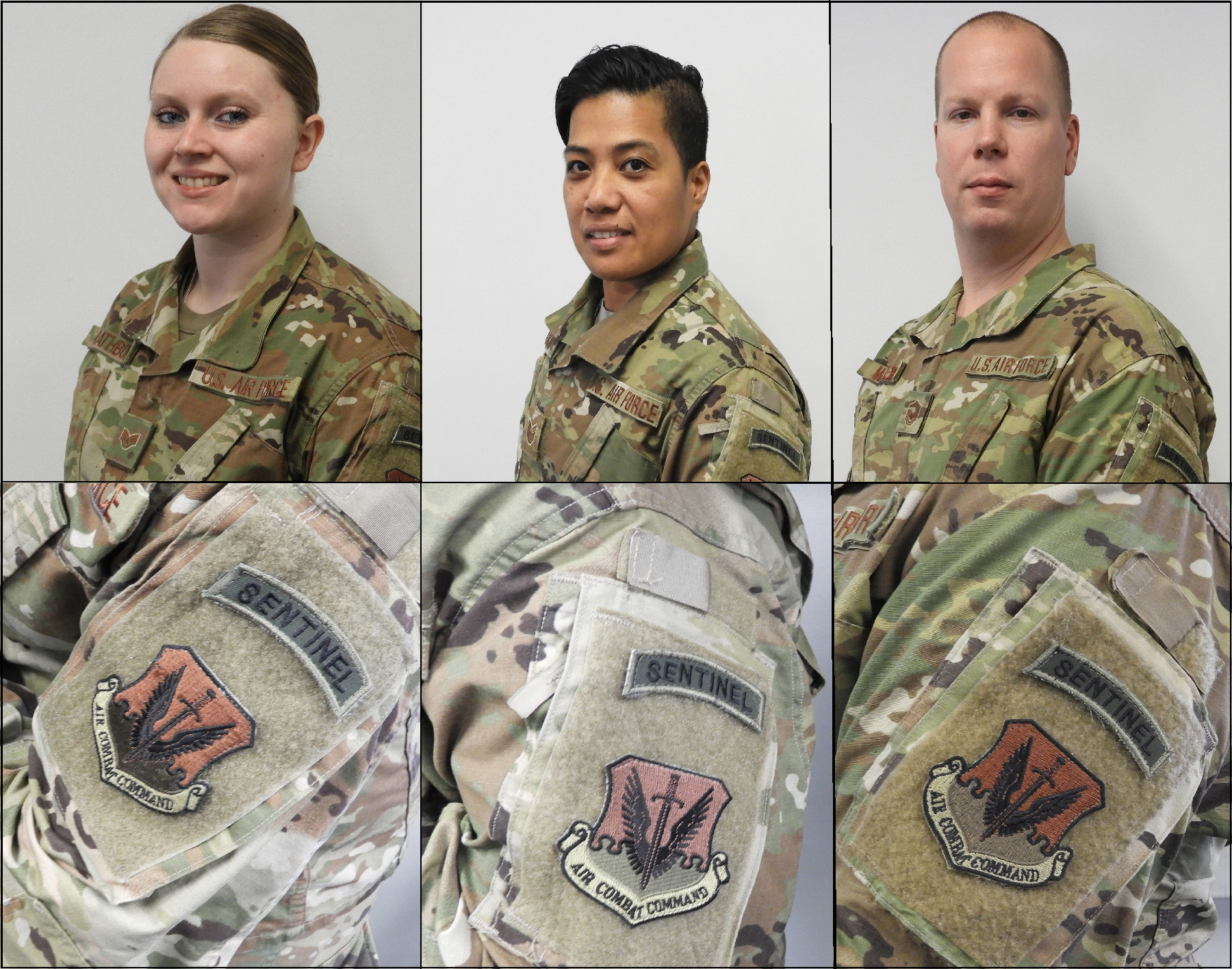 Head-and-shoulders photos of two women and one man wearing disruptive pattern uniforms; below these are photos of their respective shoulder patches.