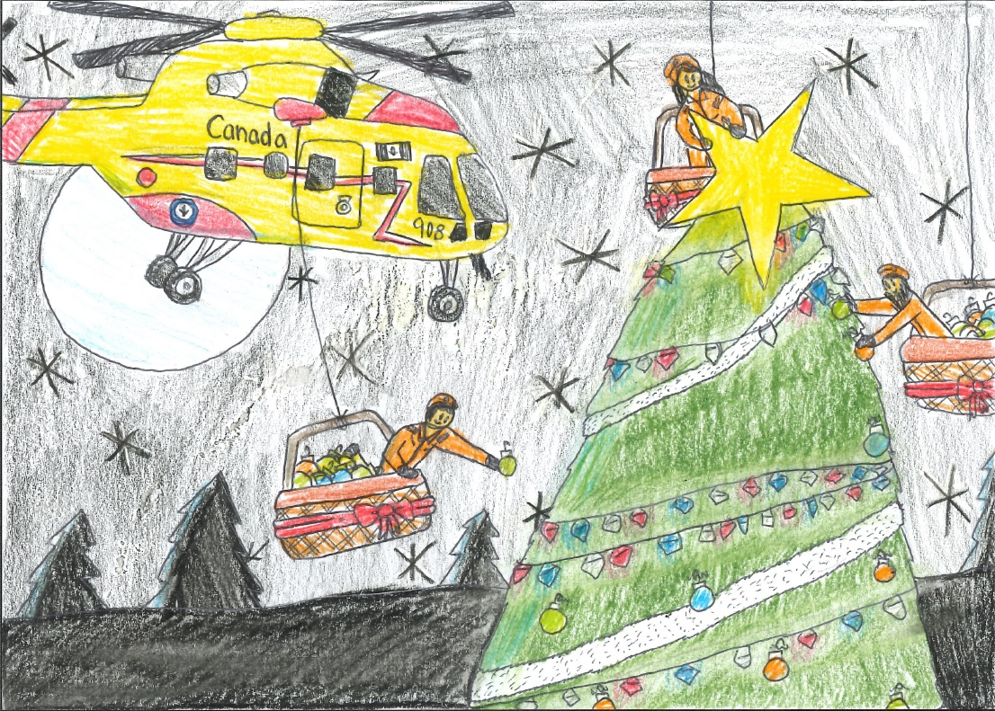 A child's drawing showing a yellow and red helicopter, a big Christmas tree and three cable-suspended baskets from which people wearing orange jumpsuits decorate the tree.