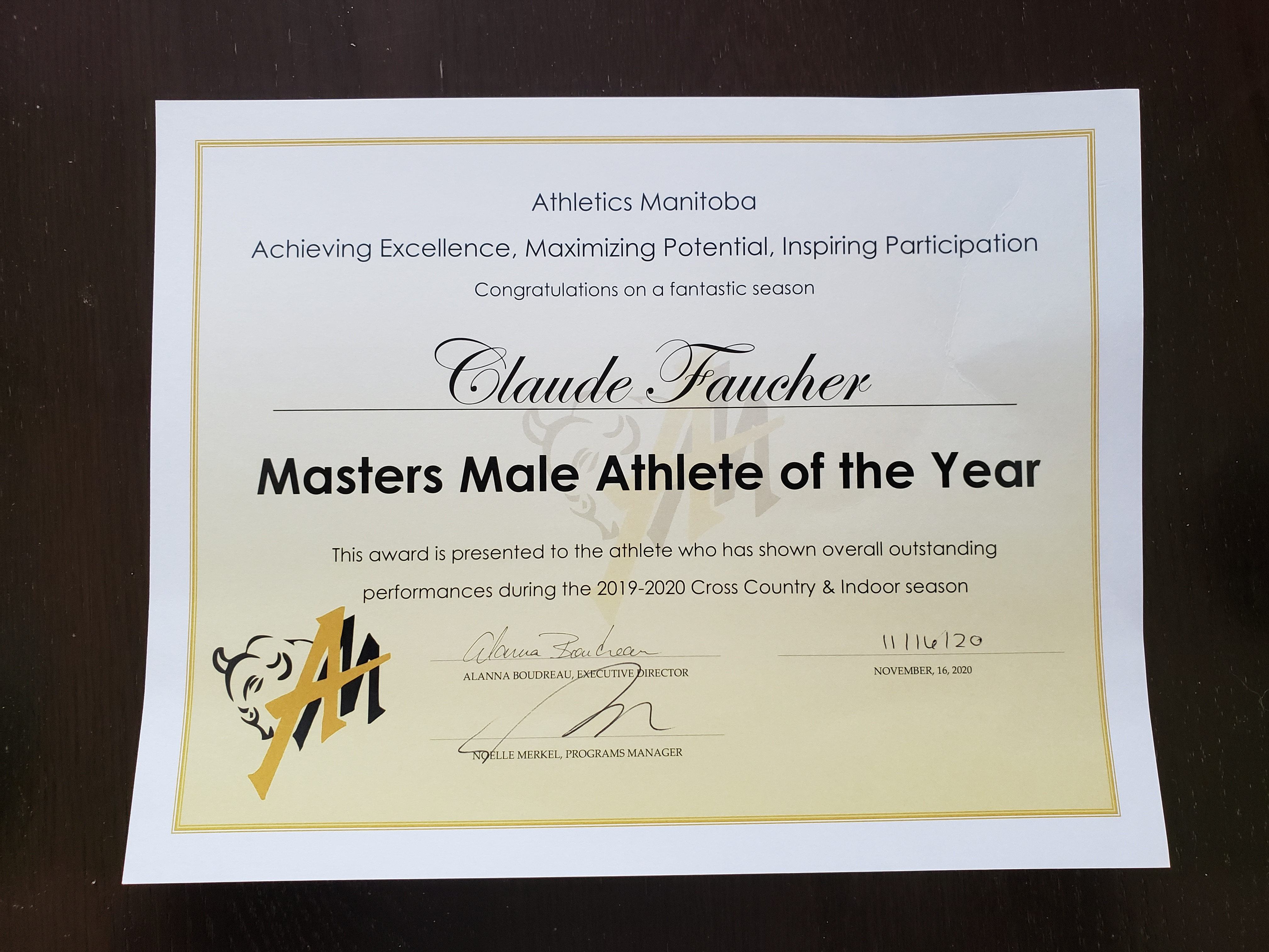 The award presented to Chief Warrant Officer Claude Faucher by Athletics Manitoba. IMAGE: Submitted