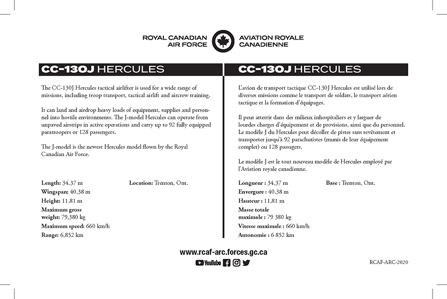 CC-130J Hercules fact sheet details