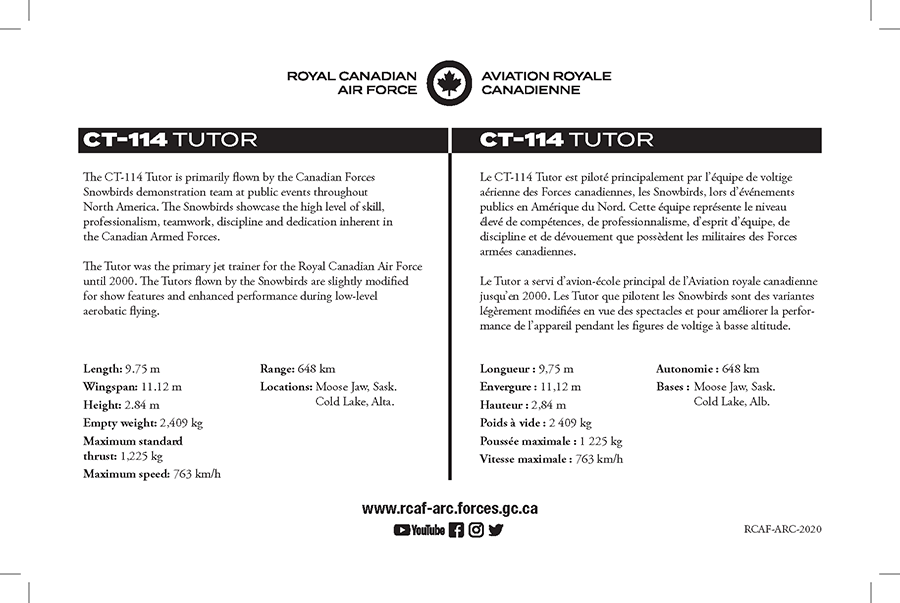 CT-114 Tutor fact sheet details