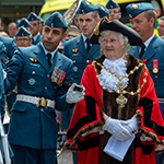 The Town Mayor of Folkestone, Councillor Ann Berry, inspects members of the Freedom of the City parade with Master Warrant Officer Dipen Mistry, RCAF Public Duties Air Task Force Warrant Officer on 4 July, 2018. PHOTO: MCpl Boucher