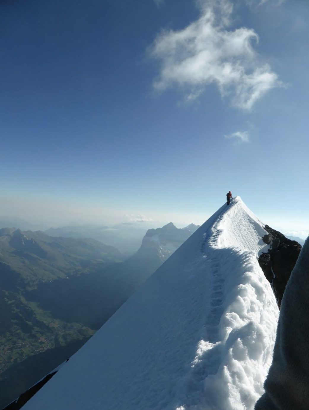 Taken from the summit of the Eiger on August 28, 2016, this photo shows the exposure of the narrow ridge that forms the Eiger, which is the last traverse before you reach the summit. PHOTO: Captain Antoine Labranche