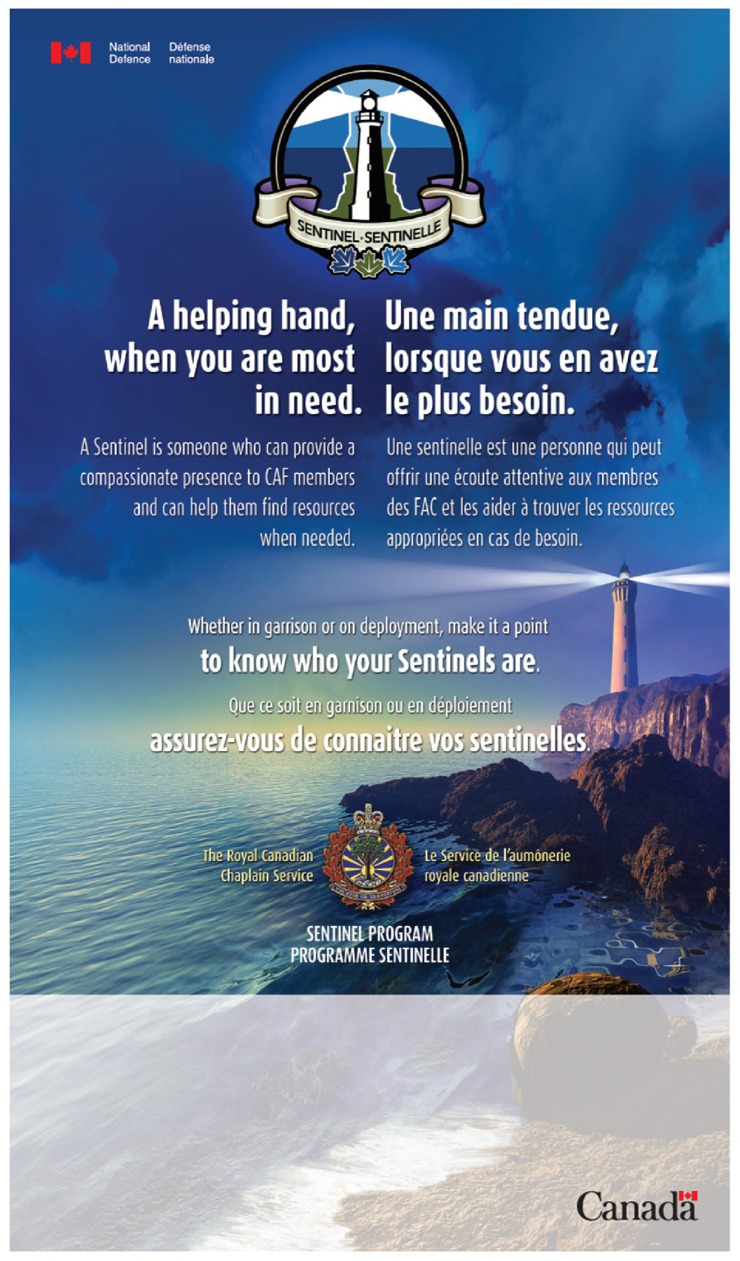 The Sentinel Program poster was developed by Royal Canadian Chaplain Services to help Canadian Armed Forces units identify their Sentinels. Look for this poster at your Wing or Base to learn the contact information of Sentinels in your area. IMAGE: Courtesy of Lieutenant (Navy) David Godkin
