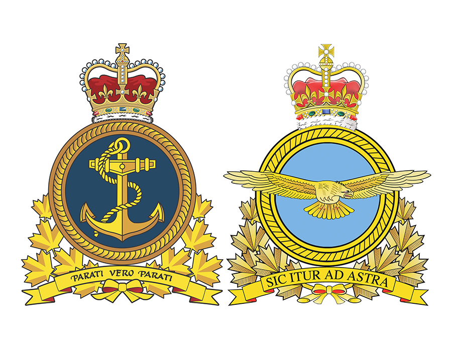 The crests of the RCN and RCAF