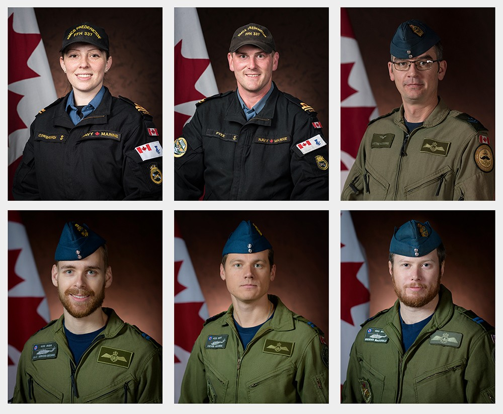A photo montage of six people wearing green and black flight suits.